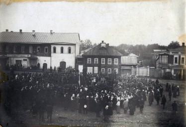 Тотьма. Мобилизация. Молебен на торговой площади 1914г.